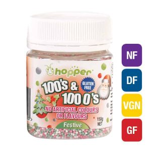 Natural Festive 100s & 1000s Sprinkles (Hopper)