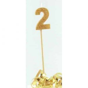 Number 2 Gold Long Stick Candle