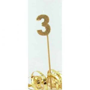 Number 3 Gold Long Stick Candle