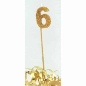 Number 6 Gold Long Stick Candle