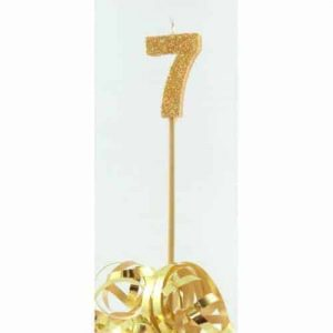 Number 7 Gold Long Stick Candle