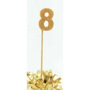 Number 8 Gold Long Stick Candle