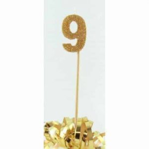 Number 9 Gold Long Stick Candle