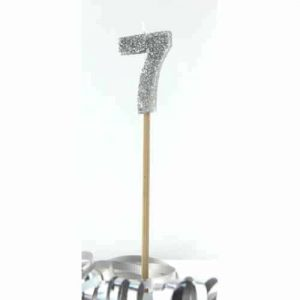 Number 7 Silver Long Stick Candle