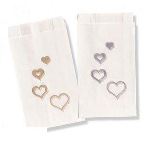 4 Hearts Silver Cake Bags