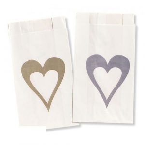 Single Heart Gold Cake Bags