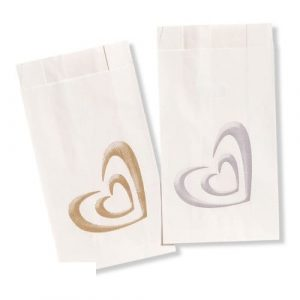 Single Shadow Heart Silver Cake Bags