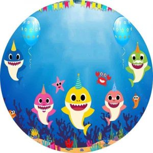 Baby Sharks Edible Round Cake Image