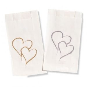 Double Heart Gold Cake Bags