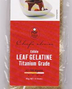 EDIBLE LEAF GELATINE SHEETS – TITANIUM GRADE – 40G – 12 PACK