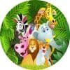 Jungle Animals Edible Round Cake Image