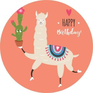 Lama with Cactus Round Edible Image
