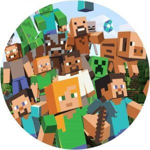 Minecraft Group Edible Round Cake Image