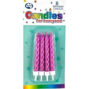 Metalic Pink Jumbo Candles W/Holders (8)