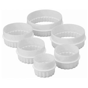 Plain/Fluted Round Cookie Cutter Set 6pc