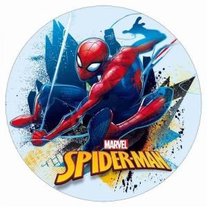 Spiderman Blue Round Edible Image