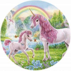 Unicorn Paradise Edible Round Cake Image
