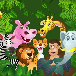 Jungle Animals Edible Cake Image A4